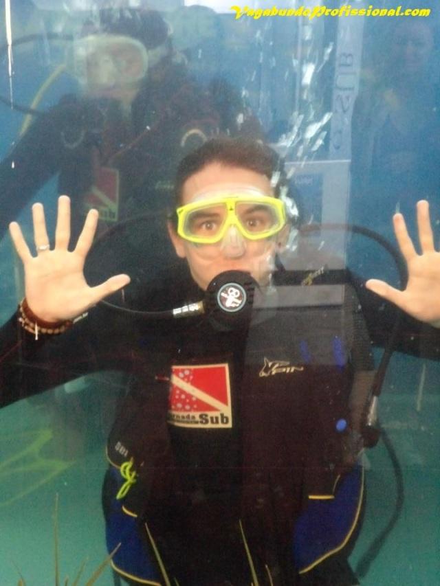 Não resistimos e fomos experimentar o mergulho no tanque-container pra ver como que era.