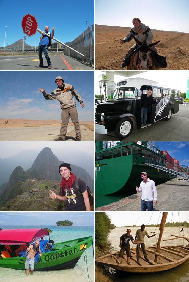 Jérémy Marie em sua volta ao mundo de Carona; de cima para baixo, da esq. para a dir.: com uma placa de 'Pare' na África do Sul, montado em um burro na Síria, pedindo carona no deserto na Síria, em um ônibus na Nova Zelândia, em Machu Picchu (Peru), com um navio cargueiro no Mar de Coral (Oceania), uma lancha no Caribe e um barco no Sudão (Foto: Jérémy Marie/Arquivo pessoal)