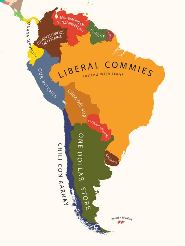 A América do Sul segundo os Estados Unidos.