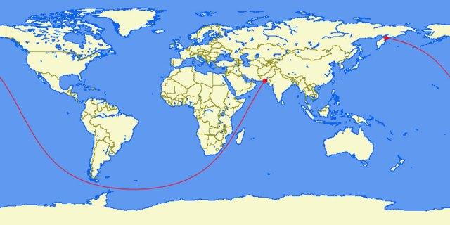 A mais longa linha reta que você pode navegar na Terra (Paquistão a península de Kamchatka, Rússia - 20 mil milhas)