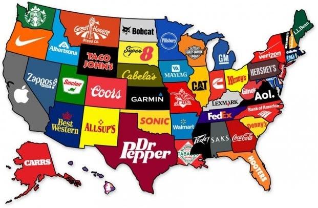 A marca mais famosa em cada estado dos Estados Unidos.