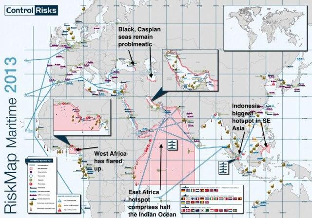 As áreas mais perigosas do mundo para o transporte comercial devido aos piratas