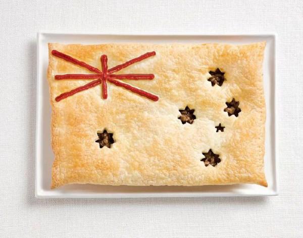 Bandeira de Austrália feito de Torta de carne, molho.