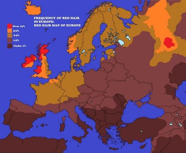 Concentração de ruivos(as) na Europa.