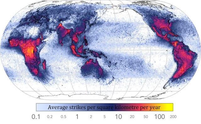 Frequência de raios por todo o mundo