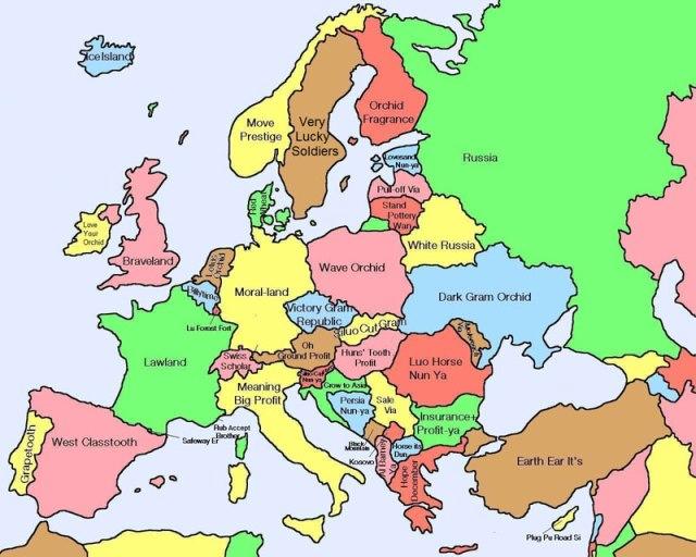 Mapa da Europa mostrando literais traduções chinesas para nomes dos países
