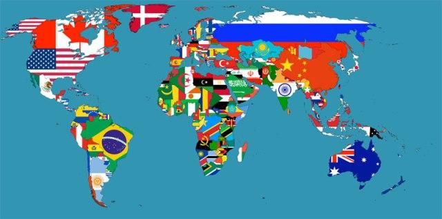Mapa de bandeiras do mundo