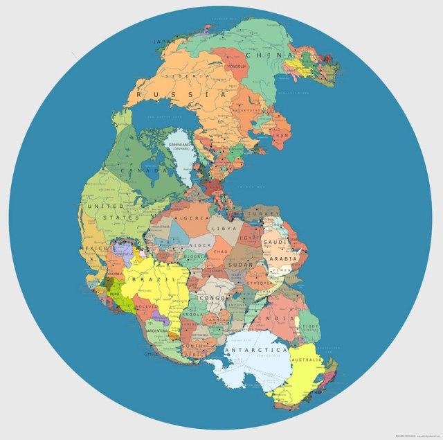 Mapa de Pangeia com fronteiras internacionais atuais