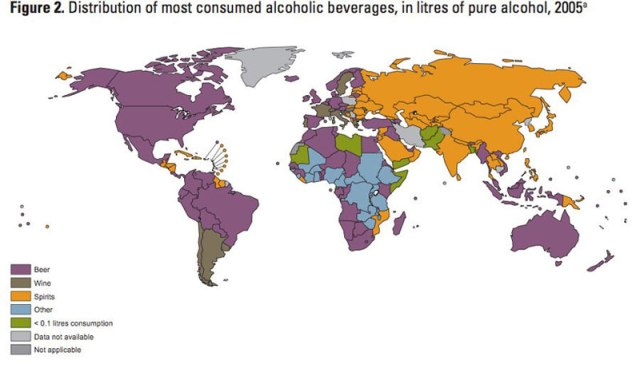 Mapa de popularidade de bebida alcoólicas por país