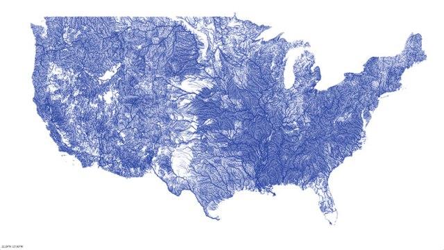 Mapa de rios contíguos nos Estados Unidos