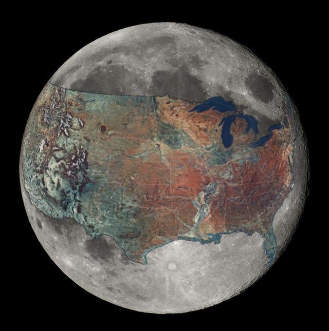 Mapa dos Estados Unidos sobreposto na Lua