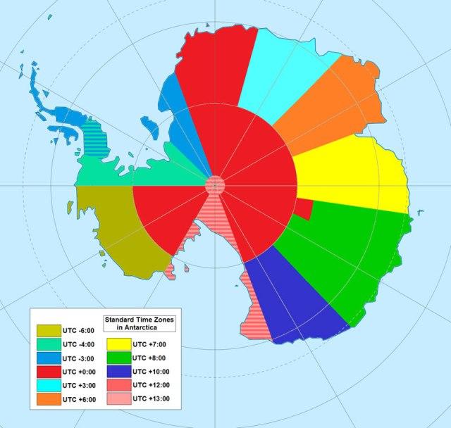 Mapa dos fusos horários na Antártida