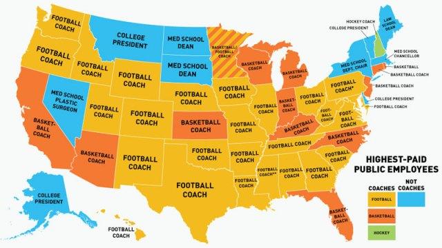 Mapa dos profissionais mais bem pagos por estado americano