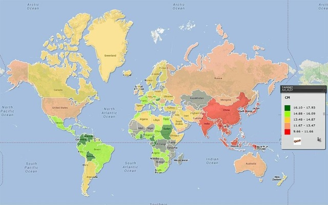 O nível de QI dos diversos países