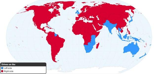 Orientação de condução de carro por país
