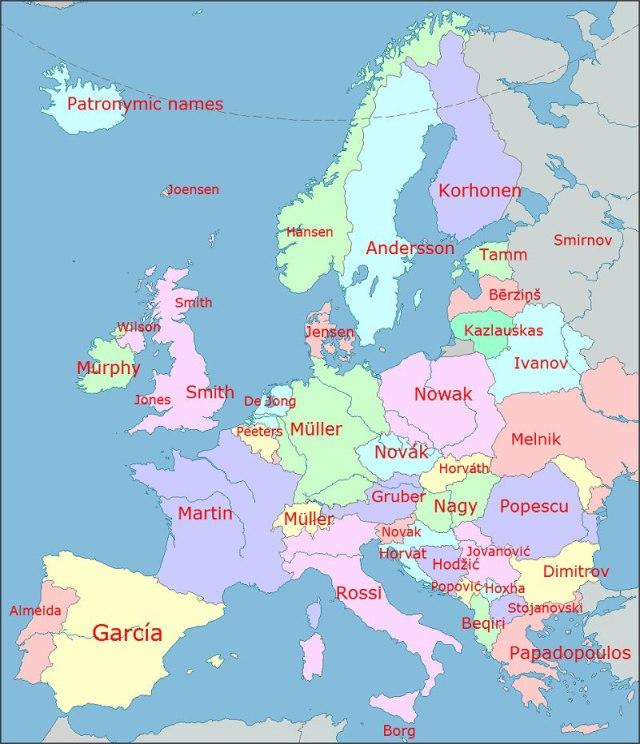 Os sobrenomes mais comuns na Europa por país