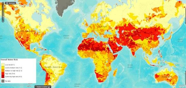 Risco global da água ao redor do mundo