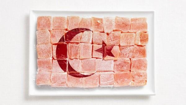 Bandeira da Turquia feita de Turkish Delight (Lokum).