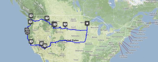 A viagem de Hank percorreu 8 mil quilômetros Estados Unidos adentro.